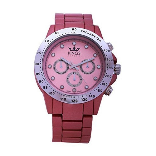 Kings Tea Pink Metal Strap Silver Dial Ladies Wrist Watch Analog Quartz Movement
