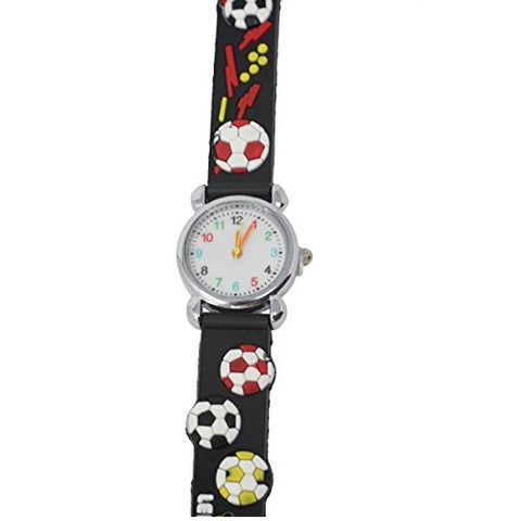 Soft Silicone Football Theme Fun Kids Wrist Watch Silver Multicoloured Number Dial Analog Quartz Movement