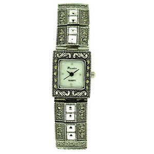 Picador Marcasite Wrist Watch Antique Metal Finish Clear White Crystals Analogue Quartz with One Extra Battery