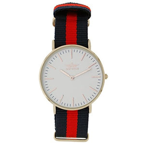 Softech Unisex Silver Plated Red & Blue Nylon Strap Wrist Watch Analog Quartz With One Extra Battery