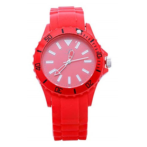 Reflex Unisex Red Bezel & Red Silicone Strap Analog Wrist Watch Quartz Buckle Clasp Extra Battery