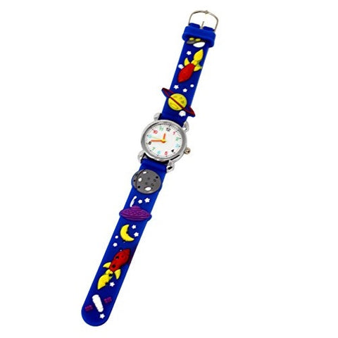 Soft Silicone Unisex Galaxy Theme Wrist Watch Fun Kids Silver Multicoloured Number Dial Analog Quartz Movement