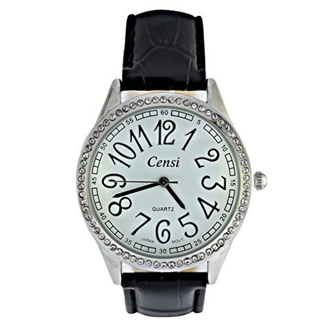 Censi Women's Sliver Diamante Large Dial PU Leather Strap Analog Wrist Watch Silver Numbers Japanese Quartz Buckle Clasp Extra Battery