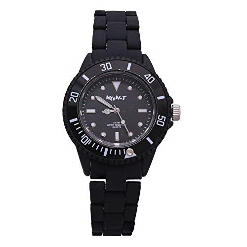 NEON-T Unisex Black Bezel & Plastic Strap Analog Toy Wrist Watch Quartz Fold Over Clasp Extra Battery