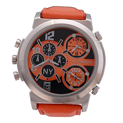 NY London Men's Silver Bezel Orange Leather Strap Triple Time Zone Chronograph Luxury Wrist Watch Analog Quartz Extra Battery