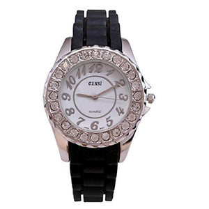 Censi Women's Sliver Diamante Bezel Silicone Strap Analog Wrist Watch Japanese Quartz Buckle Clasp Large Numbers Extra Battery