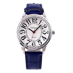 Urban Women's Wrist Watch Silver Diamante Large Numbers Analog Display Japanese Quartz Movement with Navy Blue PU Leather Strap