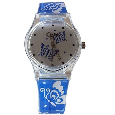 Core Girls Designer White Dial & Blue Strap with Butterflies Plastic Wrist Watch