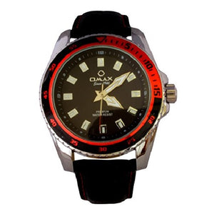 Omax Men's Red Black Dial Silver Bezel Black PU Leather Strap Wrist Watch Analog Quartz Extra Battery