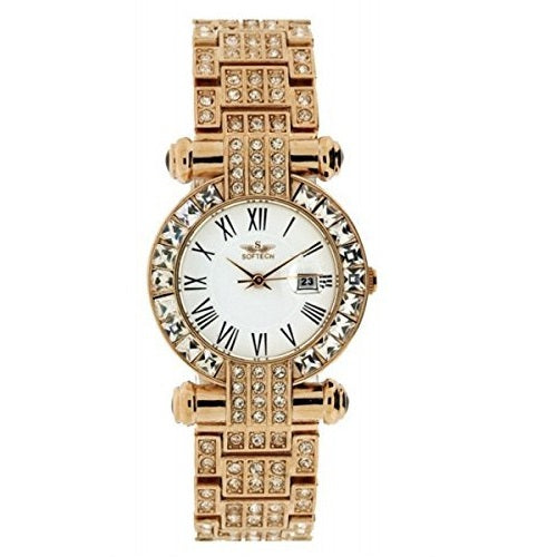 Softech Womens Rose Gold Fashion Wrist Watch Diamante Bezel Analog Quartz