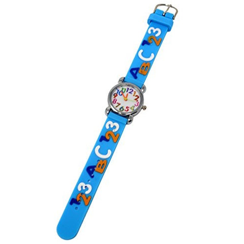 Soft Silicone Unisex Wrist Watch 123 ABC Theme Fun Kids Silver Multicoloured Number Dial Analog Quartz Movement