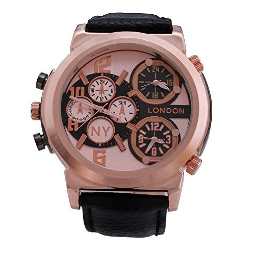 NY London Men's Rose Gold Bezel Black Leather Strap Triple Time Zone Chronograph Wrist Watch Analog Quartz Extra Battery