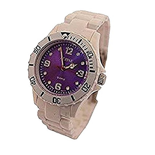 Alpine Unisex Wrist Watch Toy Style Fashion White with Purple Face Fold Over Clasp Analog Display Quartz Movement with Plastic Strap ALP-PW