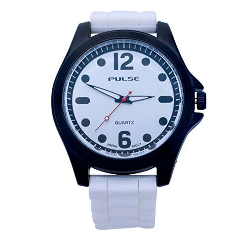 Pulse Unisex Wrist Watch Matte Finish Dial Buckle Clasp Large Numbers Analog Display Quartz Movement with Silicone Strap Pulse-U