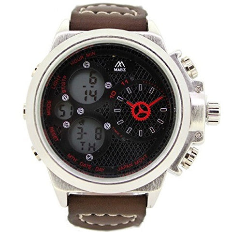MABZ Men's Dual Time Dark Brown Leather Strap Wrist Watch Analog Digital Quartz Buckle Clasp Day & Date Extra Battery