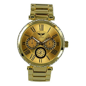 NY London Women's Gold Diamante Dial & Face Metal Strap Small Decorative Dials Wrist Watch Analog Quartz Fold Over Clasp Extra Battery