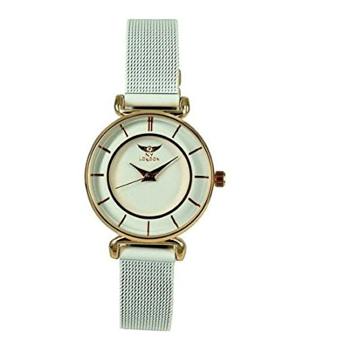 NY London Women's White with Rose Gold Dial Face All Metal Mesh Strap Wrist Watch Analog Quartz Hook Buckle Clasp Extra Battery
