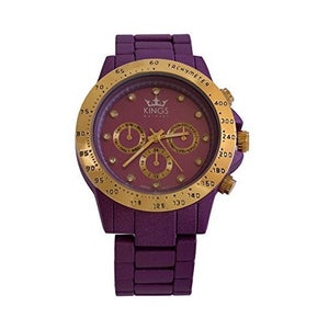 Kings Purple Metal Strap Gold Dial Ladies Wrist Watch Analog Quartz Movement