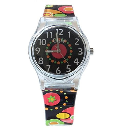 Core Girls Designer Black Dial with Orange, Red & Yellow Geometric Plastic Wrist Watch