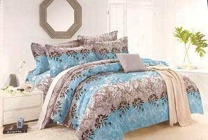 Bullahshah Floral Design on Strips Luxury Duvet Cover Bedding Set with Pillowcases Grey/Blue