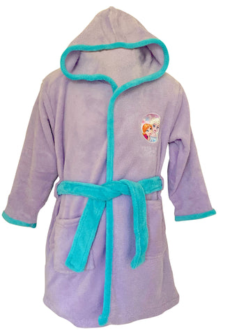 Disney Frozen Elsa and Anna Lilac Dressing Gown Soft Fleece Bathrobe Hooded Robe for Girls