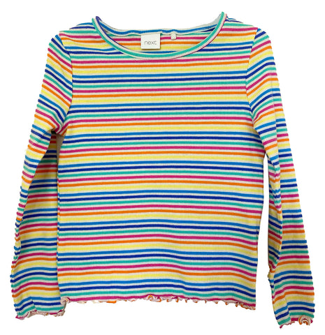 NEXT Girl's Long Sleeve Ribbed T-Shirt, Multicolored Rainbow Stripes Cotton Top for Kids