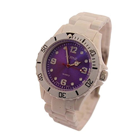 Toy Style Fashion Wrist Watch Boy's Girl's White with Purple Face 1-Year Warranty! with One Extra Battery