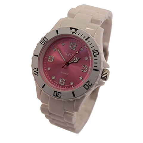 Toy Style Fashion Wrist Watch Boy's Girl's White With Pink Face 1-Year Warranty One Extra Battery