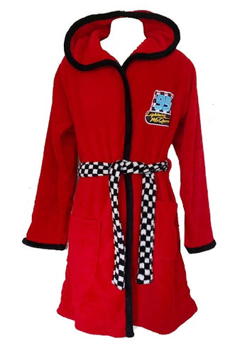Disney Cars Lightening McQueen Red Dressing Gown Soft Fleece Bathrobe Hooded Robe for Boys