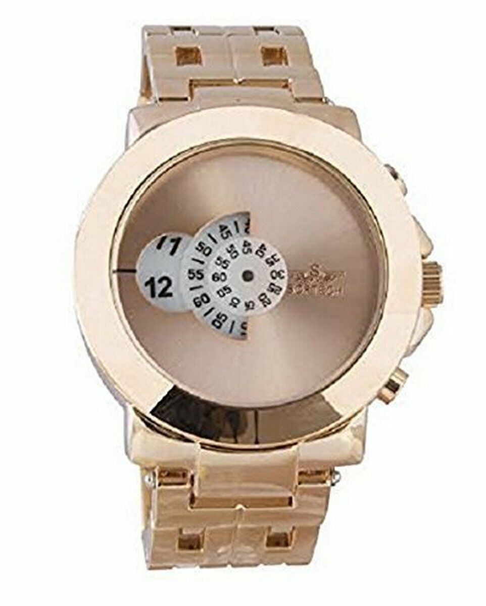 Softech Designer Retro Men's Jump Hour Disk Display Metal Wrist Watch Rose Gold Plated Wristwatch Extra Battery