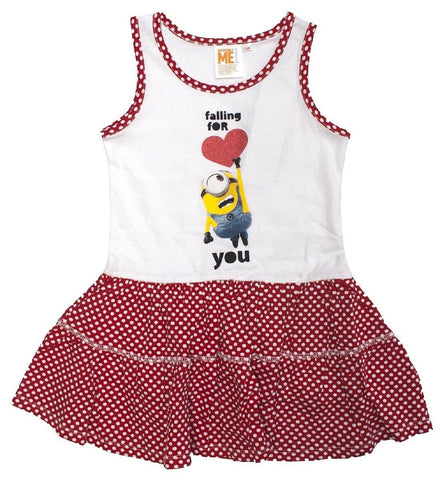 DESPICABLE ME MINIONS Girls Dress, Cotton Summer Sleeveless Casual One Piece Outfit for Kids