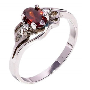 Bullahshah Women 925 Sterling Silver Natural Hessonite Garnet & White Topaz Gemstone 5.25 Size Ring NLG-1514