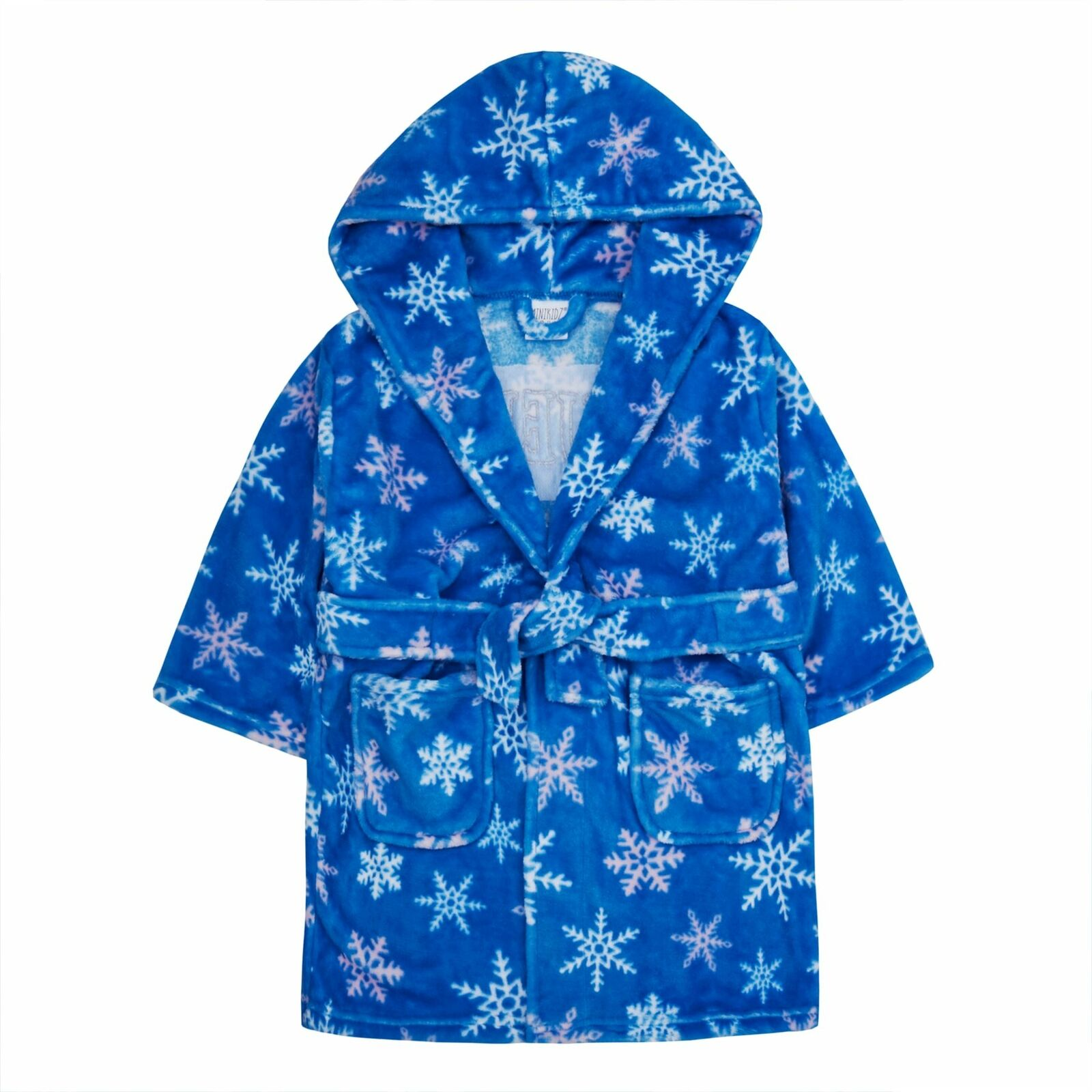 Girls Snow Queen Bathrobe, Hooded Fleece Dressing Gown, Snowflake Nightwear Soft Plush Robe for Kids