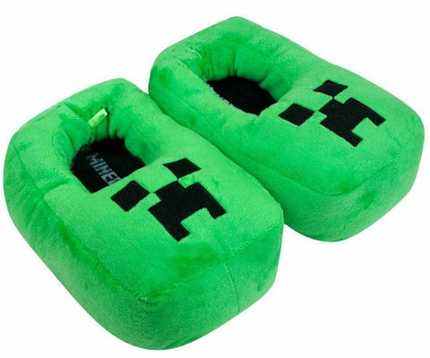 Minecraft Creeper Kids/Boys 3D Green Slipper, Plush Novelty Footwear Slip On for Kids