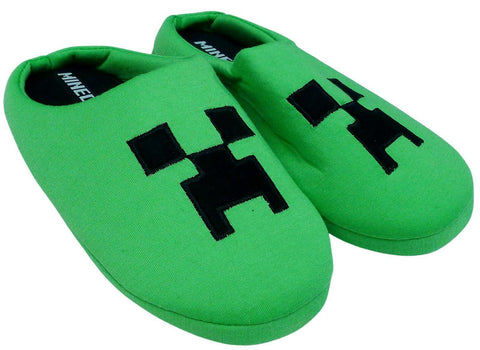 Minecraft Creeper Boys Slippers, Unisex Kids Green Gaming Theme Mules Shoes, Slip On for Girls