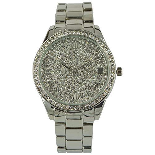 NY London Women's Metal Bling Wrist Watch, Roman Numericals, Analog Quartz Movement with Diamante Face and Bezel PI-7290