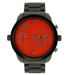 Softech Designer Men's Two Time Zone Twin Dial Wrist Watch Black Metal/Orange Face