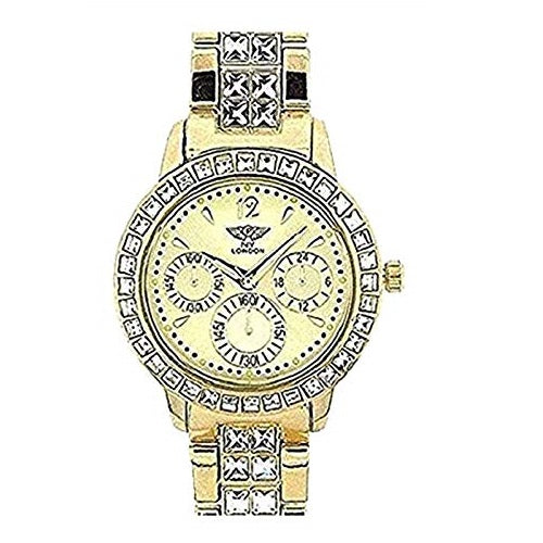 NY London Women's Wrist Watch Diamante Face Gold Plated Metal Chronograph Jeweled Analog Display Quartz Movement with Metal Strap PI-7060