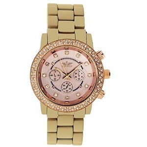 Softech Gold with Beige Face Diamante Bracelet Analog Metal Wrist Watch Quartz for Women