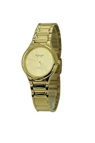 Omax Unisex Retro Gold Plated Metal Water Resist Gold Face Wrist Watch for Men and Women