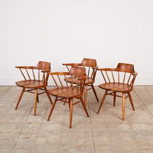 Set of Four George Nakashima Black Walnut Captain Chairs