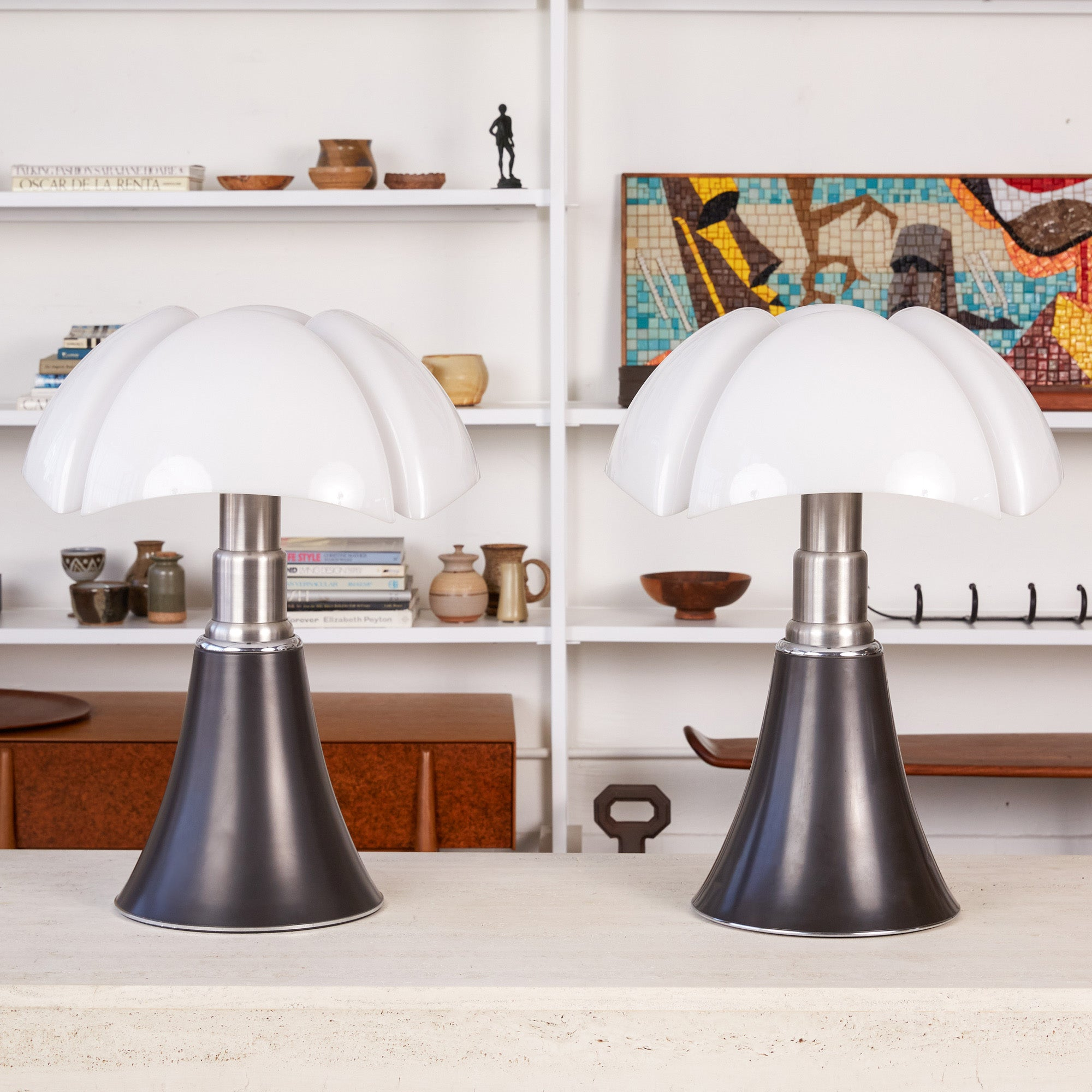 "Pair of Gae Aulenti ""Pipistrello"" Table Lamps"