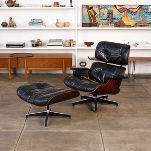 ON HOLD ** Eames for Herman Miller Rare 1956 First Year Production Lounge Chair with Spinning Ottoman