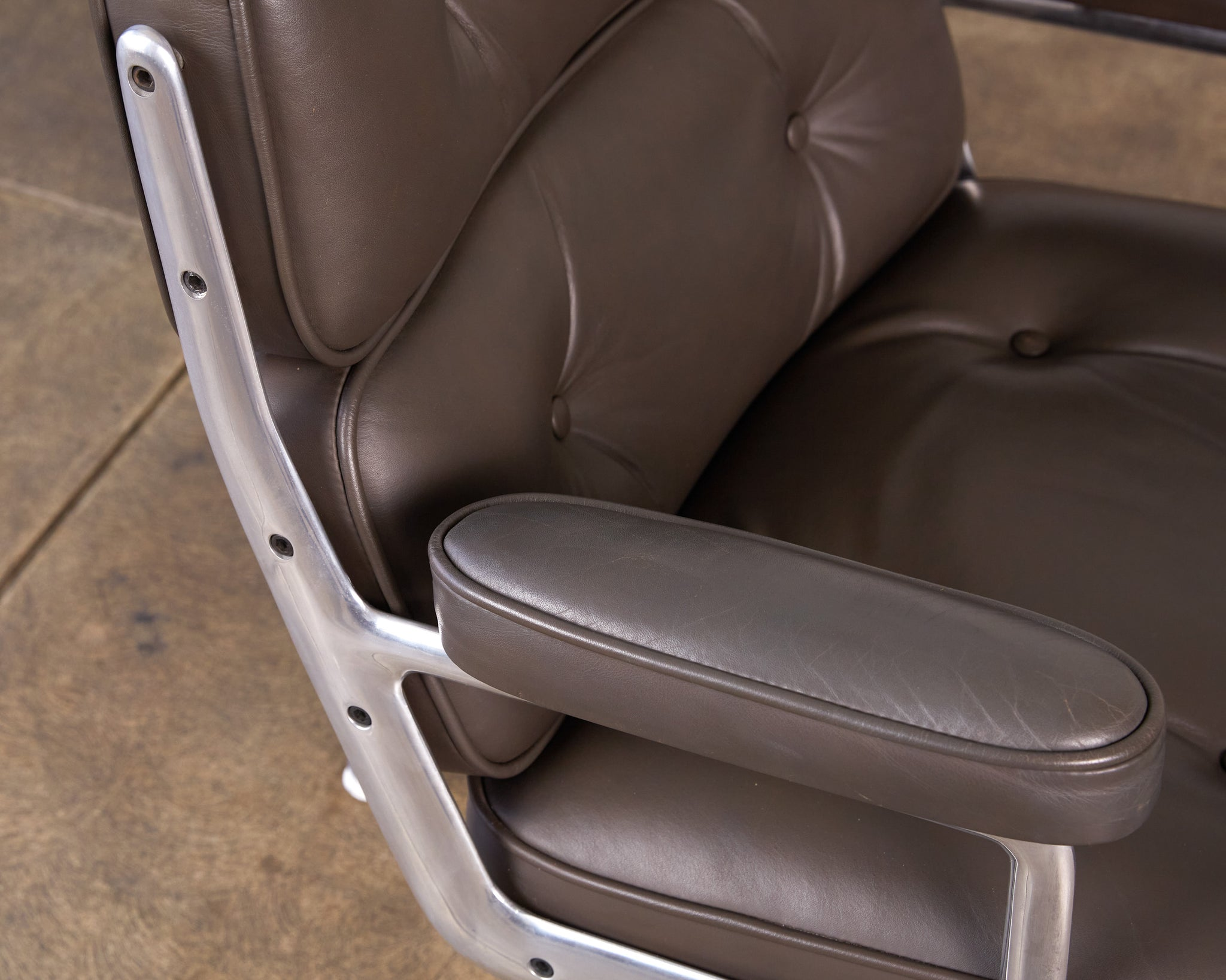 Eames Time Life Lobby Chair for Herman Miller in Gray Leather