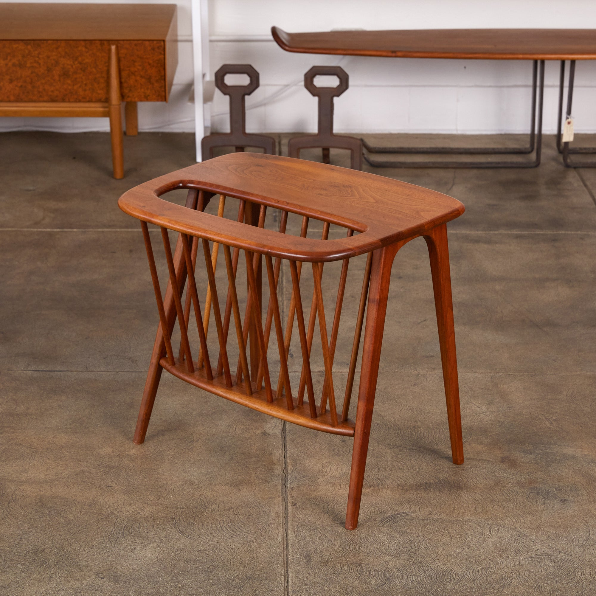 Arthur Umanoff Side Table with Magazine Rack