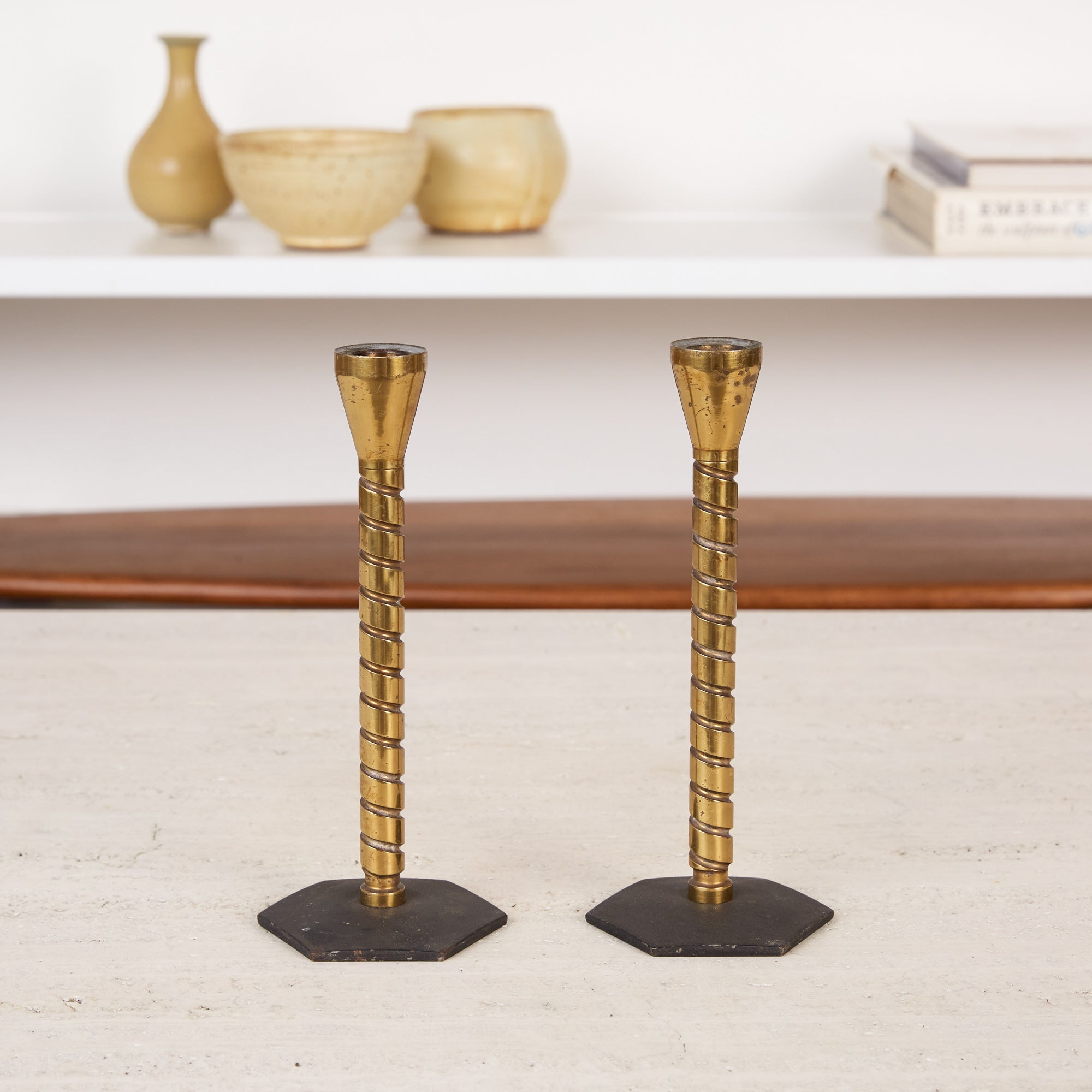 Pair of Brass Machine Age Candlesticks