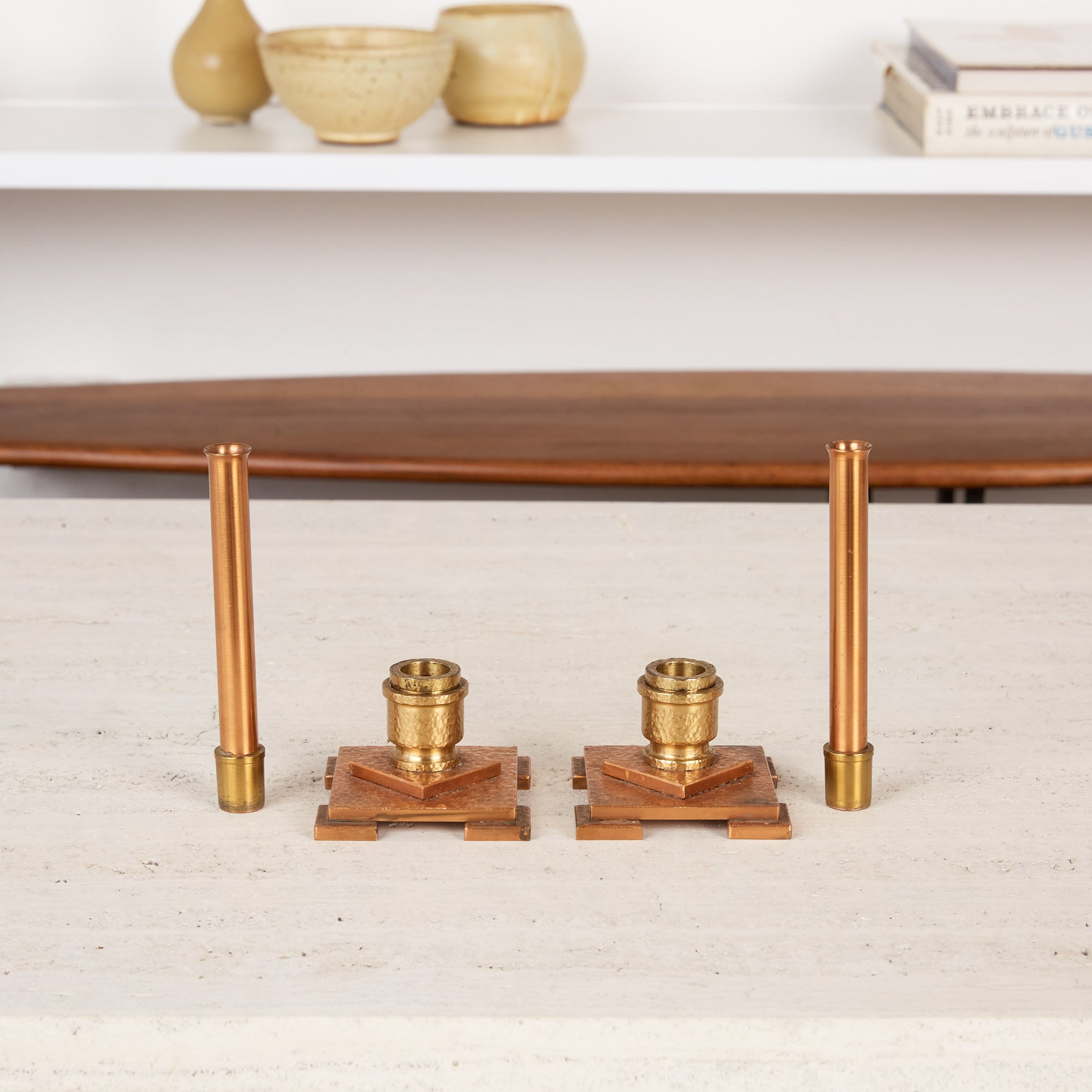 Pair of Copper and Brass Convertible Candlesticks