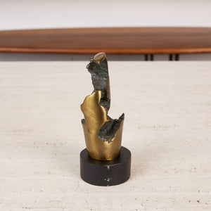 Biomorphic Sculpture with Bronze Finish on Stand