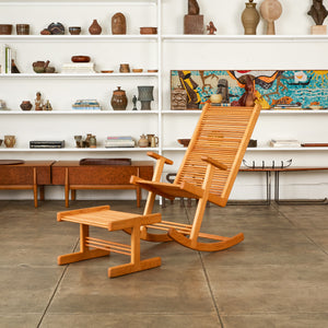 1980s Oak Rocking Chair & Ottoman by Stephen Hynson