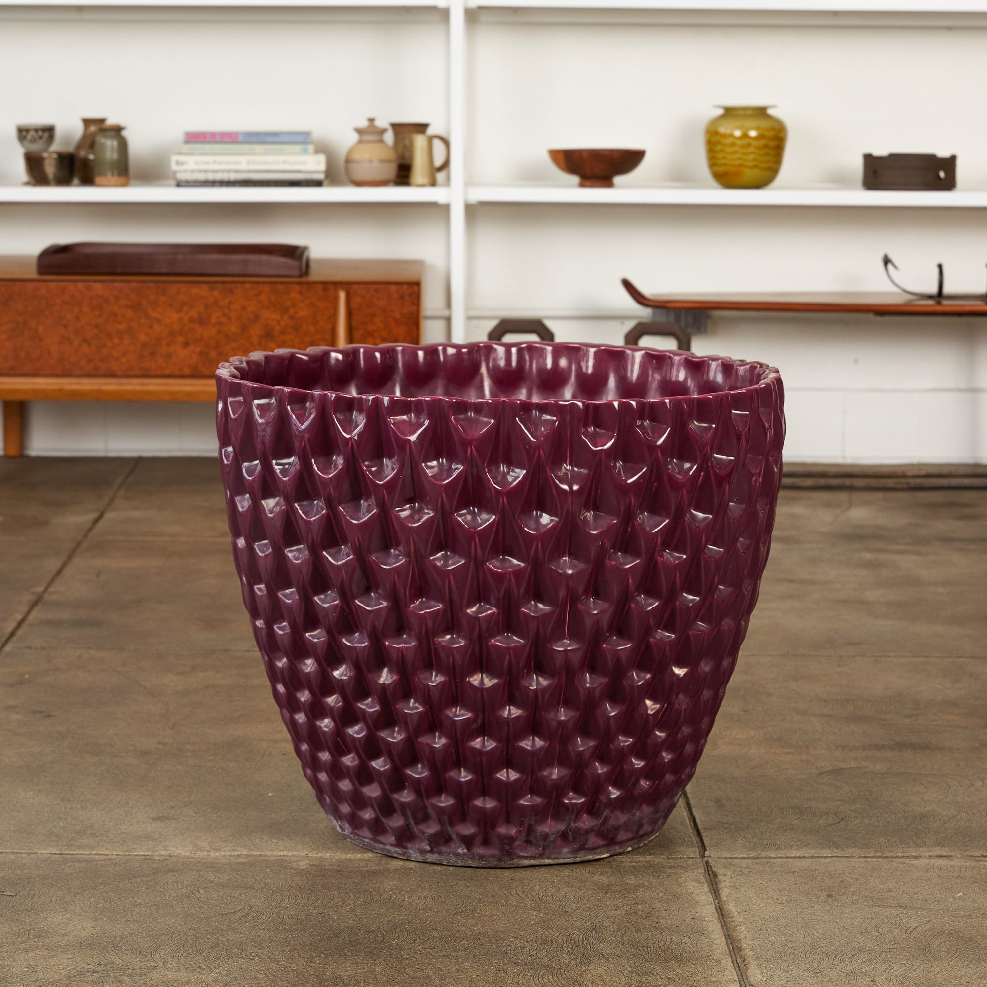 David Cressey Phoenix-1 Planter in Purple Glaze for Architectural Pottery